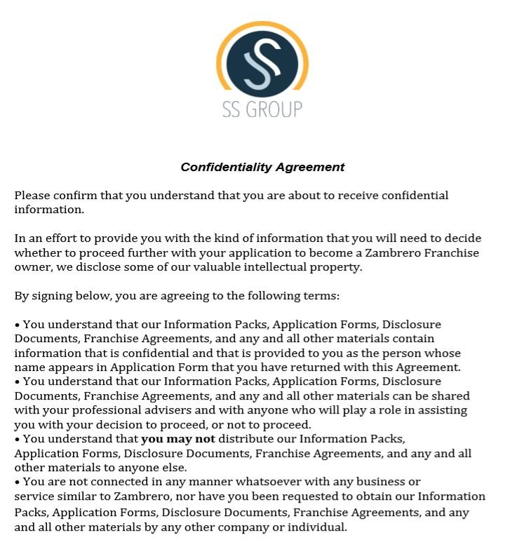 Zambrero Confidentialty Agreement